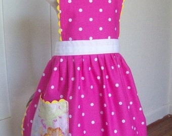 Girls Pink Apron, Magenta Polka Dot,  Apron for Kids, Toddler Apron, Sizes 2T- Teen