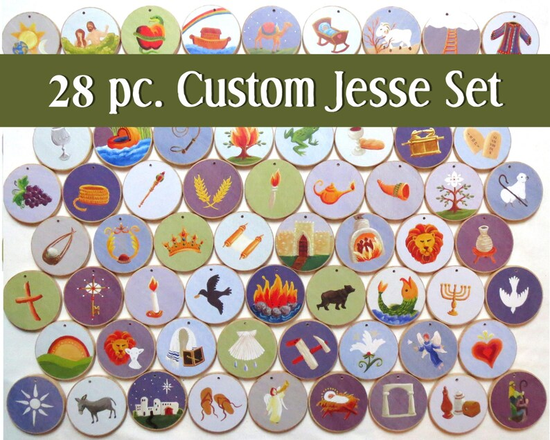 Advent Custom Jesse Tree Ornaments 28 pc. set  Multi-colored image 0