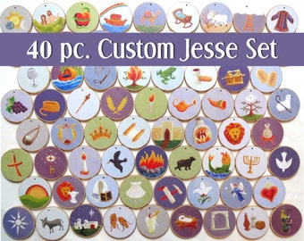 Advent Custom Orthodox 40 piece Round Jesse Tree Ornaments - Multi-colored  - Christian Advent leading to Christmas, choose your own