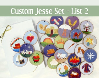 Custom - Jesse Tree Ornaments - Often ordered List 2 for Advent  - READY TO SHIP - Christian Advent Calendar leading to Christmas