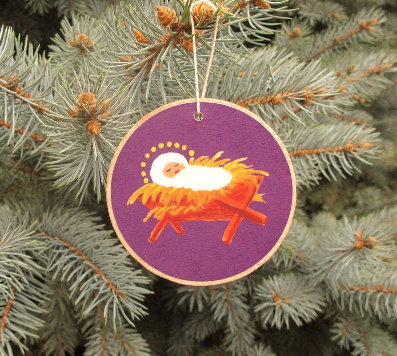 Jesse Tree Ornaments  Rustic Wooden  Advent Purple   READY image 0