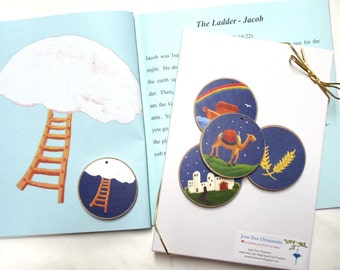 Jesse Tree Book & Blue Ornaments  - READY TO SHIP - Christian Advent Calendar leading to Christmas