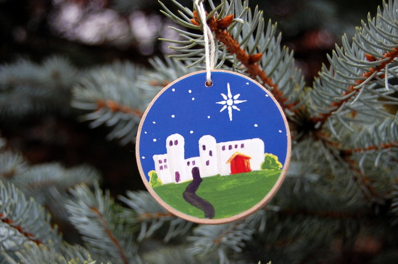 Advent Jesse Tree Ornaments  Rustic Wooden  Deep Blue image 0
