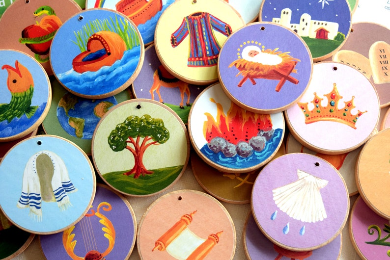 Jesse Tree Ornaments  Multi-Colored   READY TO SHIP  image 0