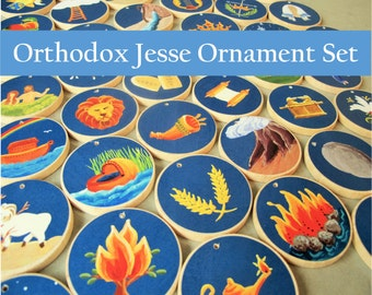 ORTHODOX Jesse Tree Ornaments -40 Days for Advent  Christian Advent Calendar leading to Christmas