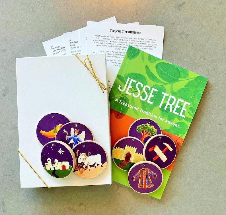 Advent Jesse Tree Book 6x9 & Purple Ornaments Storybook Set image 0