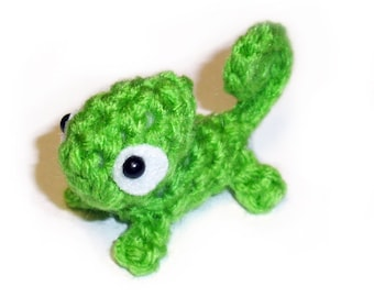 Mini Green Chameleon Plushie - 2.5 inch Small Crochet Animal Stuffed Toy Lizard - Made To Order - Miniature Plush Doll