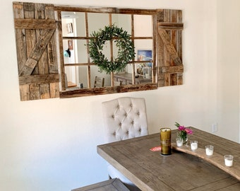 46x 36 Farmhouse Wall Decor Window Mirror Rustic Etsy