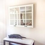 """46""""x 36"""" White Farmhouse Wall Decor Window Mirror - Rustic Window Mirror - Rustic Mirror - Large Window Mirror - Window Pane Mirror"""
