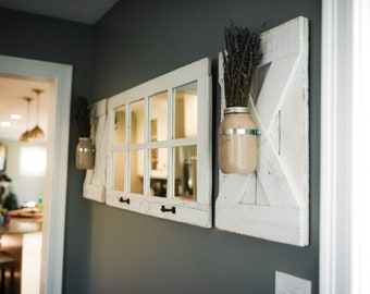 8 Pane Farmhouse Wall Decor Window Mirror - Rustic Window Mirror - Rustic Mirror - Large Window Mirror - Window Pane Mirror