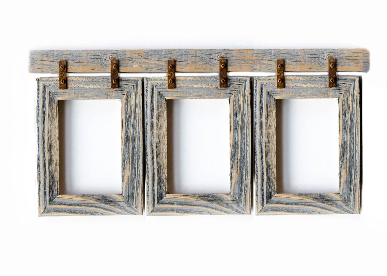 Barnwood Collage Frame. 3 5x7 Multi Opening Frame. Rustic
