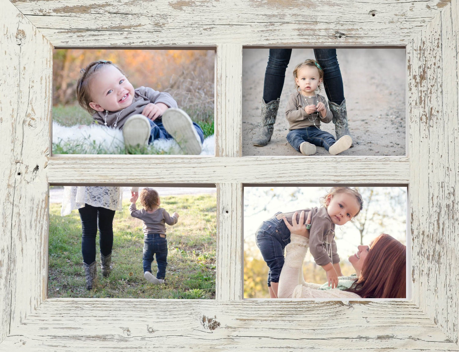 2 5x7 Barn Window Collage Picture Frame-Christmas