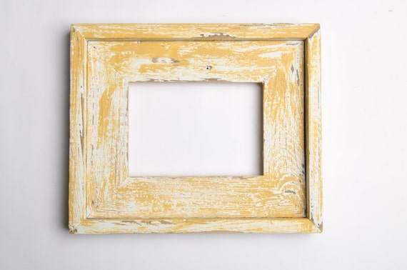 8x10 Stacked Rustic Barnwood Yellow White Distressed Rustic Etsy