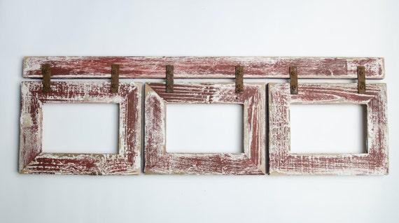 Barnwood Collage Home Decor Frame 3 5x7 Multi Opening Etsy