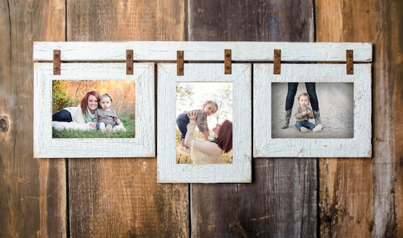 Barnwood Mixed Collage Frame. 3 5x7 Multi Opening Frame. | Etsy