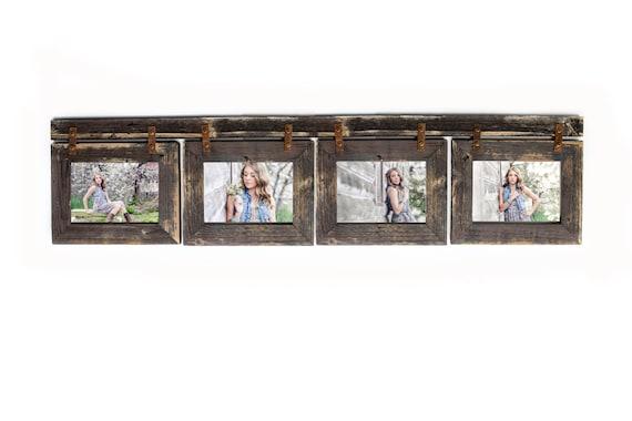 Barnwood Collage Frame 4 Hole 5x7 Multi Opening Frame Rustic Etsy