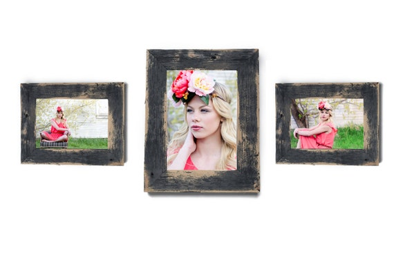 Barnwood Frame Collection 2 5x7 And 1 8x10 Rustic Picture Etsy