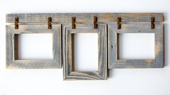 barnwood collage frame 3 5x7 multi opening frame rustic etsy. Black Bedroom Furniture Sets. Home Design Ideas