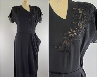 1c1e5d11731 Vintage 1940s Dress   Fancy 40s Dress   40s Black Dress   Medium