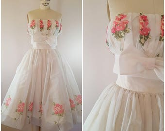 7c57fd9bb5 Vintage 1950s Dress   50s Strapless Gown   50s Prom Dress   Strapless Party  Dress   Pink Roses   XS