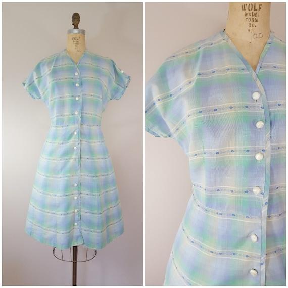 Vintage 1950s Dress / Pastel Plaid Cotton Dress /
