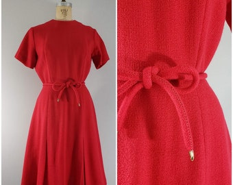 Vintage 1960s Red Wool Dress / Alison Ayres / Red Dress / 60s Wool Dress / Small Medium