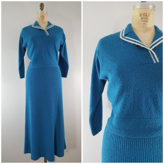 Vintage 1950s Knit Wool Skirt and Sweater Set / Sw