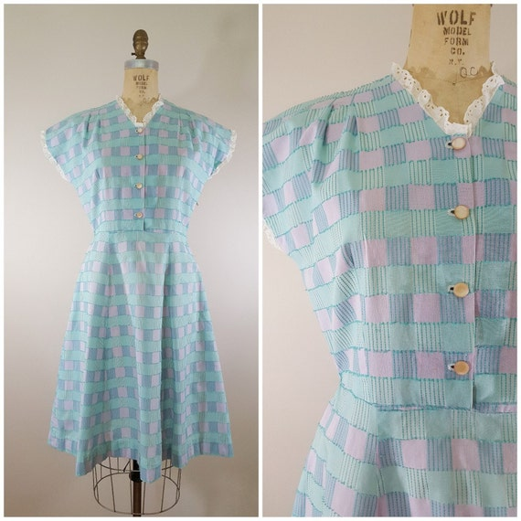 Vintage 1950s Dress / Pastel Plaid Day Dress / Med