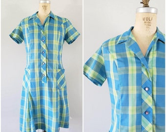 Vintage 1960s Dress / Blue and Yellow Plaid Dress / Medium