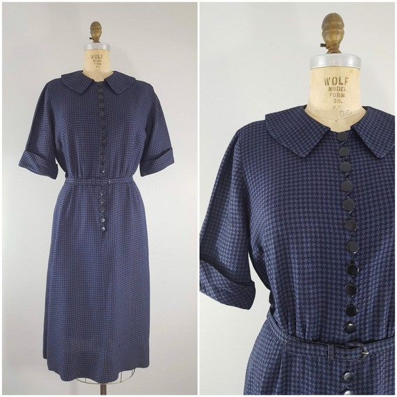 Vintage 1960s Nelly Don Dress / Blue and Black Hou
