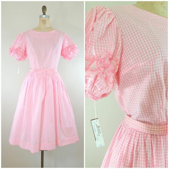 Vintage 1950s Dress / Pink Gingham Dress / Party D