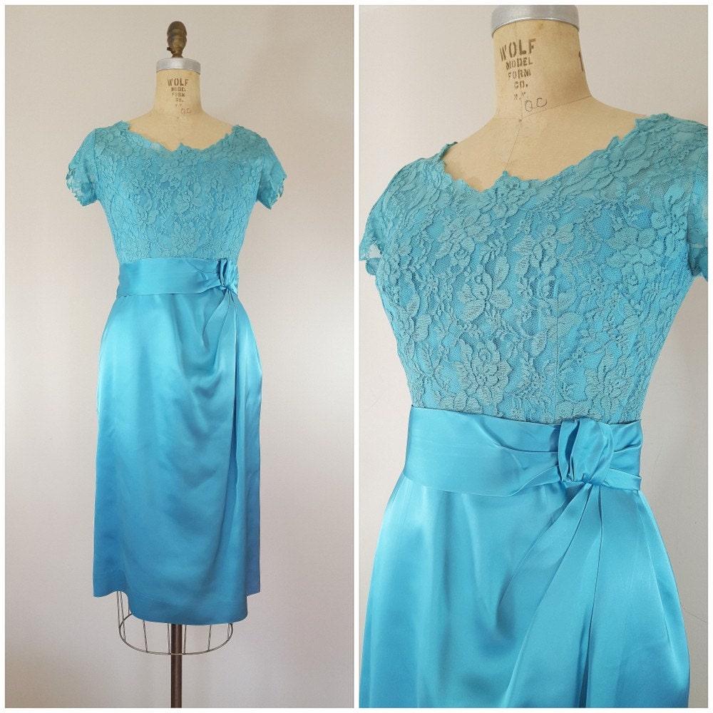 Vintage 1960s Dress Cocktail Dress Aqua Lace Satin Dress Elinor Gay Small Medium