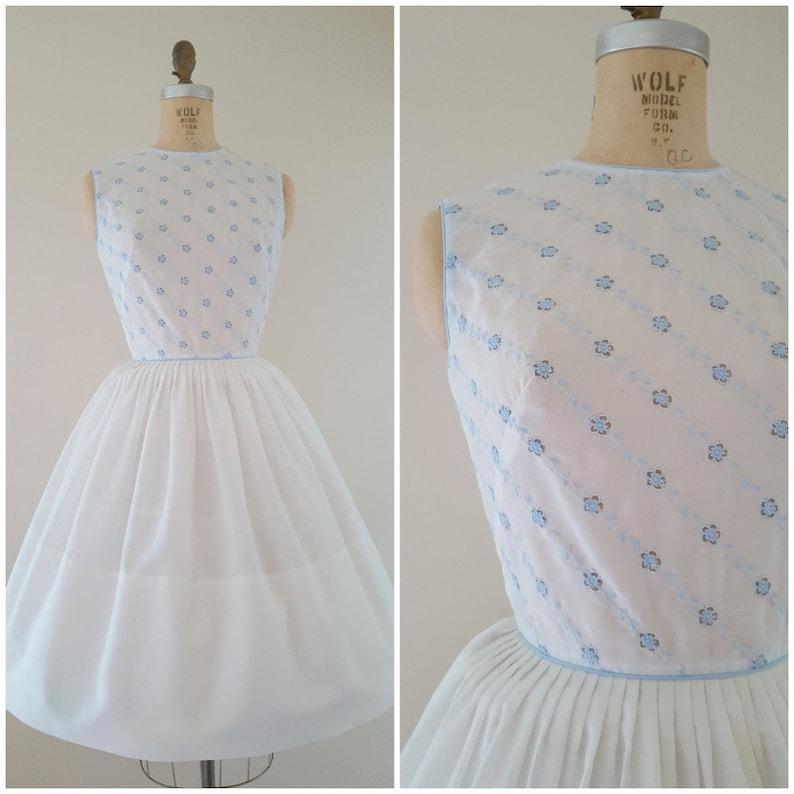 d3bf04edae Vintage 1950s Dress   L AIGLON   White and Baby Blue