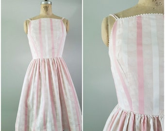 Vintage 1950s Summer Dress / 50s Cotton Sundress / Pink and White Stripes / XS