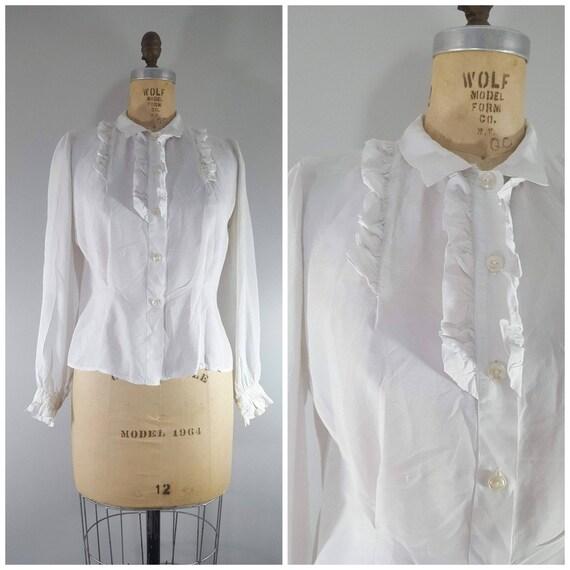 Vintage 1940s Blouse / White Rayon Ruffle Blouse /