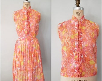 Vintage 1960s Skirt and Top Set / Orange Floral Pleated Skirt / Summer Skirt / Ruffle Blouse / Matching Vintage Set / XS-Small