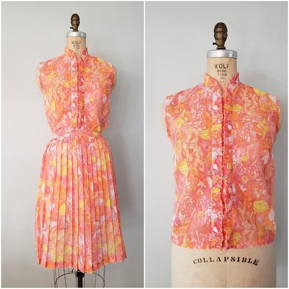 Vintage 1960s Skirt and Top Set / Orange Floral Pl