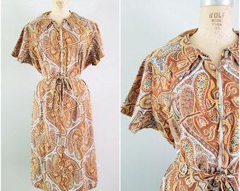 Vintage 1960s Dress / Brown Paisley 60s Dress / Large