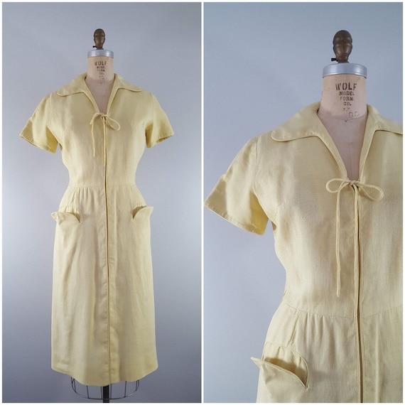 Vintage 1950s Pat Premo Dress / Yellow Linen / Sma
