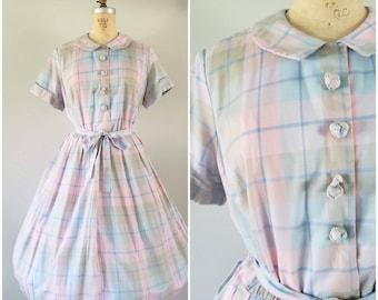 Vintage 1950s Dress / Pastel Plaid / Day Dress / Shirtwaist / Large
