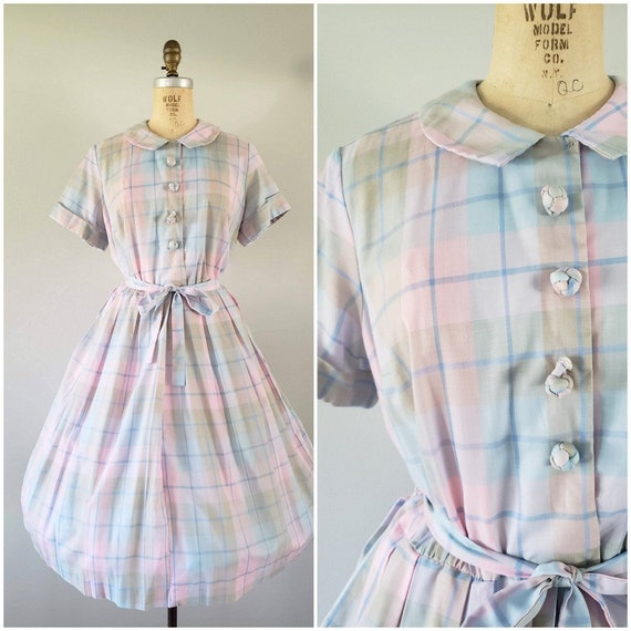 Vintage 1950s Dress / Pastel Plaid / Day Dress / S
