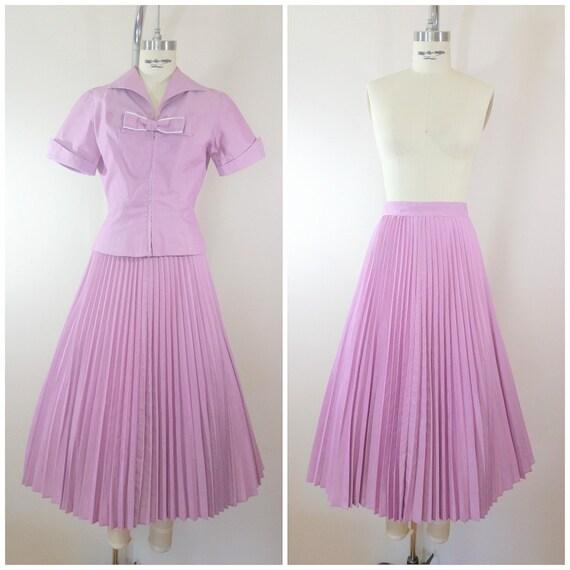 Vintage 1940s Skirt and Blouse Set / Purple / Cott