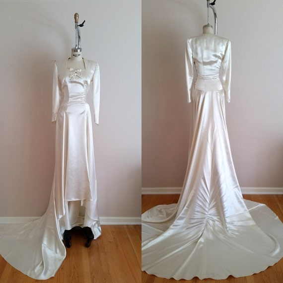 Vintage 1930s Silk Satin Wedding Dress / 30s Wedding Dress