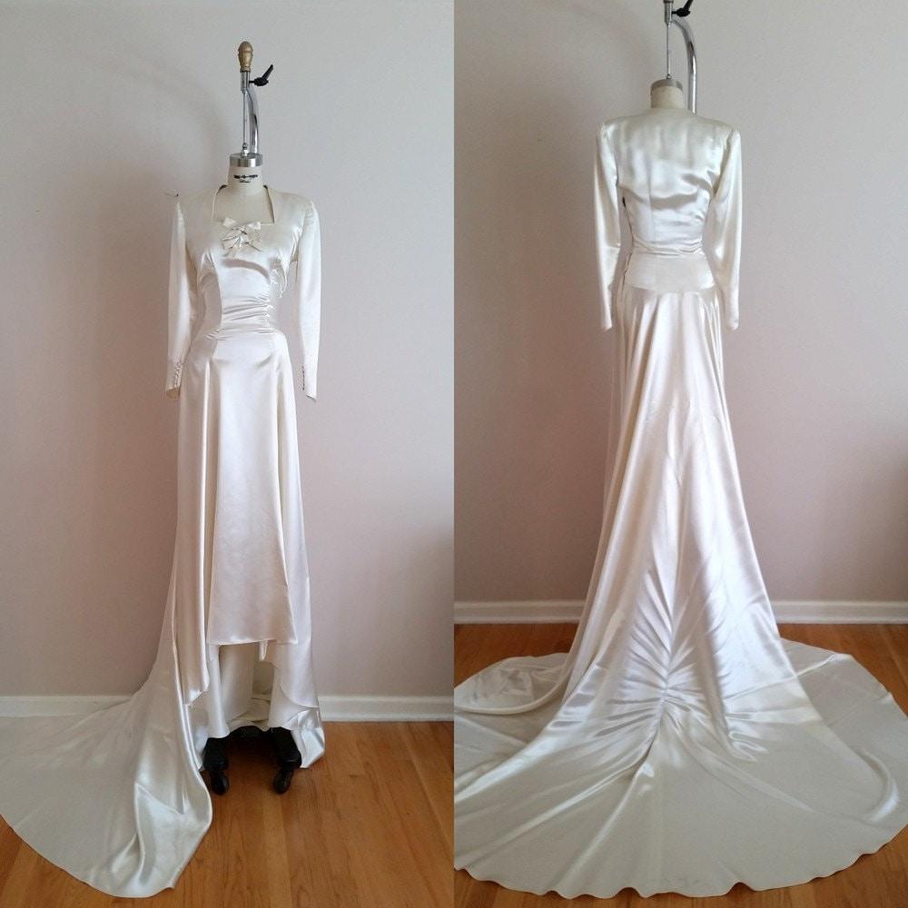 Vintage 20s Silk Satin Wedding Dress / 20s Wedding Dress /   Etsy
