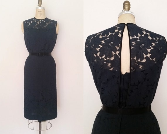 Parting Ways Dress / Vintage 1960s Black Dress / M