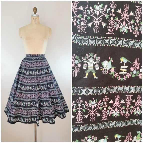 Vintage 1950s Skirt / Novelty Print Skirt / Full S