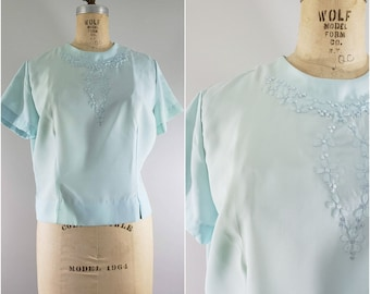 Vintage 1950s Baby Blue Blouse / NEW OLD STOCK / Women's Vintage Blouse / Large