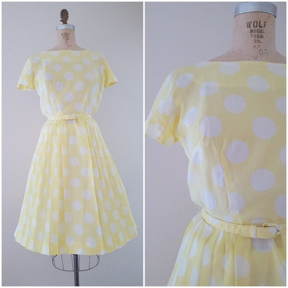 Vintage 1960s Dress / Yellow and White Polka Dots