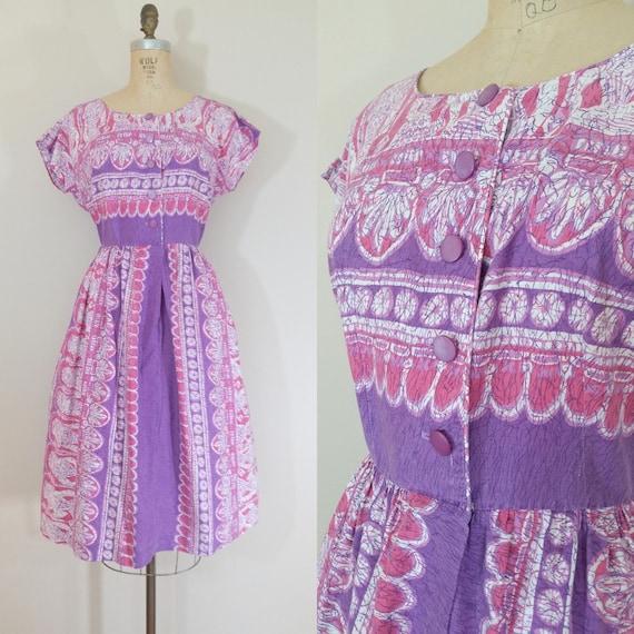 1950s Purple Cotton Day Dress • EGYPTIAN DRESS • V