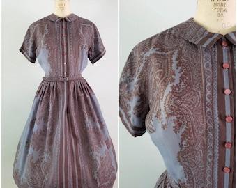 Vintage 1950s Dress / L'Aiglon Shirtwaist / Vintage 50s Dress / Medium